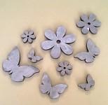Dřevěný mix natur 6ks - květinky a motýlci