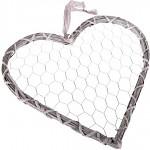 Srdce proutí šedé - drátěný výplet - 44,5x40cm