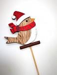 Ptáček dřevěný s čepičkou - zimní zápich