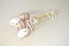 Vajíčka plastová zápich - zlato - růžová - 6 ks