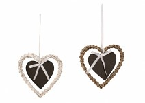 Srdce proutí bílé - s černým srdíčkem