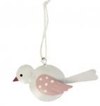 Plechový ptáček bílo-růžový - závěs