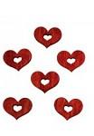 Dřevěná srdíčka malá - červená dutá - 24ks