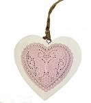 Srdce dřevěné bílé - růžová ražba