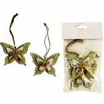 Dřevěný motýl s knoflíčkem zelený  - 2ks