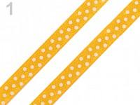 Saténová stuha 6mm - žlutá s puntíky - 1m
