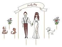 Zápich do dortu - novomanželé, zvířata a květiny