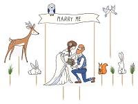 Zápich do dortu - novomanželé a lesní zvířátka