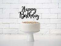 Napichovátko - černé - happy birthday -1ks