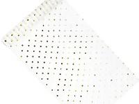 Organza šerpa - bílá se zlatým/stříbr. puntíkem