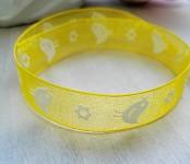 Stuha monofilová žlutá 15mm - s ptáčky - 1m