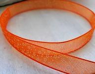 Stuha monofilová oranžová 10mm - s kytičkami - 1m