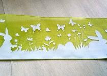 Stuha monofilová zelená 40mm - zajíčci - 1m