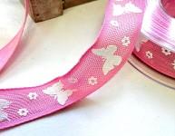 Stuha plátnová růžová 25mm - motýlci - 1m