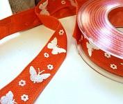 Stuha plátnová oranžová 25mm - motýlci - 1m