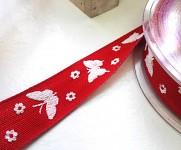 Stuha plátnová červená 25mm - motýlci - 1m