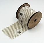 Stuha plátnová bežová pruh s kytkami  - 6cm - 3m