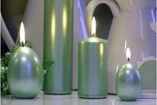 Svíčka válcová - mátová metalická