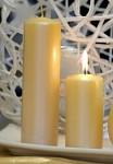 Svíčka válcová - žlutá metalická