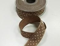 Stuha lemovaná puntík 25mm - hnědá 1m