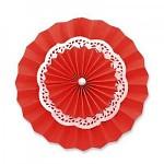 Rozeta závěsná krajková - červená  30cm