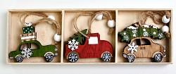 Dřevěná autíčka závěs - 6 ks