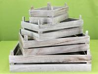 Bedýnka dřevěná šedá - 34 cm