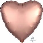 Foliový balonek saténový lesk - srdce měděné