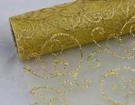 Organza šerpa zlatý ornament - zlatá nelemovaná