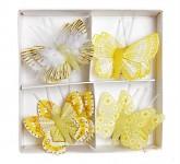 Dřevění motýli s lepítkem - mix barev 16ks