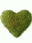 Mechové srdce s květy - velké