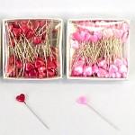 Špendlíky s růžovými srdíčky - 100ks