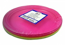 Party PLASTOVÉ talířky barevný mix - KULATÉ 22 CM - 20 KS