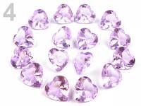 Broušené diamanty velké -  srdce fialová