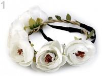Pružná čelenka s bílými velkými květy