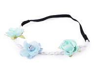 Pružná čelenka s modrými velkými květy