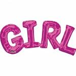 GIRL - foliový nápis - růžový