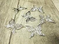 Stříbrný kovový motýl - mini - 6ks