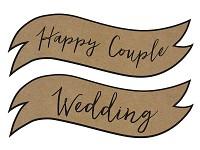 Papírový výsek - nápis wedding a happy couple