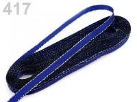 Stuha taftová s lurexem - 6mm/10m - stříbrno/tm. modrá