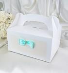 Krabička na výslužku s ouškem - bílá s tyrkysovou mašlí - 1ks