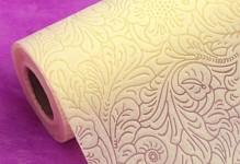 Vlizelín sametový vzor - 50cm - 4,5m - krém