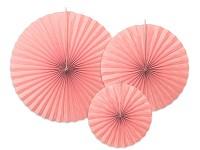 Rozety závěsné - pudrově růžové jednobarevné - 3ks