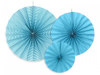 Rozety závěsné - zelenomodré  jednobarevné - 3ks