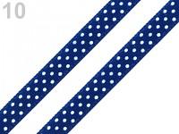 Saténová stuha 6mm - tm.modrá s puntíky - 1m