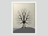Svatební strom černobílý - postavy - bílý rám - 34 x 44 cm