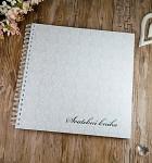 Svatební kniha hostů LUX - bílý damaškový vzor