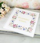 Svatební kniha hostů LUX - vintage květinový rám