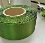 Stuha atlasová oboulící - zelená  - 40mm/1m