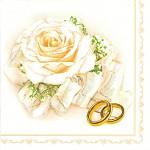 Ubrousky - krémová růže a zlaté prstýnky